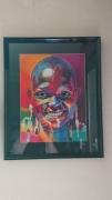 tableau personnages decoration salon portrait colore : Africaine colorée
