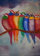 tableau animaux decoration humoristique salon chambre : Oiseaux colorés