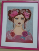 tableau personnages decoration chambre jeune fille maison : Jeune fille