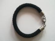 artisanat dart autres spirale au crochet art passion perles japonaises : Bracelet noir mat brillant