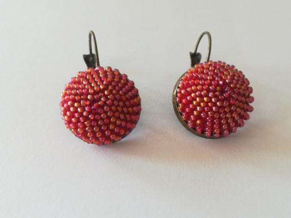 ARTISANAT D'ART spirale au crochet art passion perles japonaises  - boucle d'oreille plate