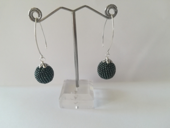 AUTRES spirale au crochet art passion perles japonaises  - boucle d'oreille pendante