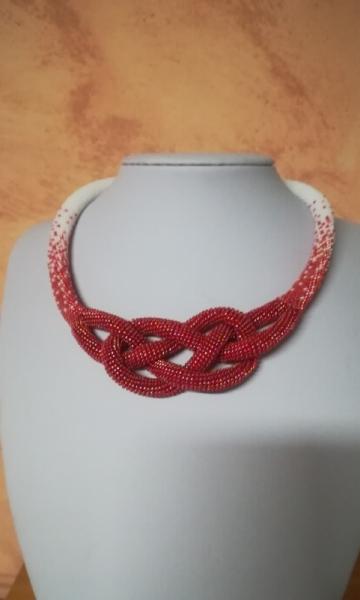 BIJOUX perles japonaises spirale au crochet tissage art  - collier noeud