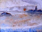 tableau marine phare impressionnisme couleur aube : Marine sans titre