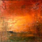 tableau abstrait : Coucher de soleil