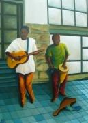 tableau scene de genre : Musiciens de rue