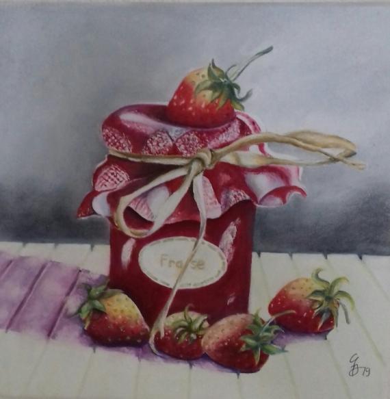 TABLEAU PEINTURE fraise Nature morte Peinture a l'huile  - pot de confiture de fraise