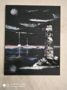 tableau marine : Le phare noir