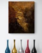 tableau abstrait Œuvre unique tableau abstrait tableau peint ,a la main tableau dore : Composition n°72