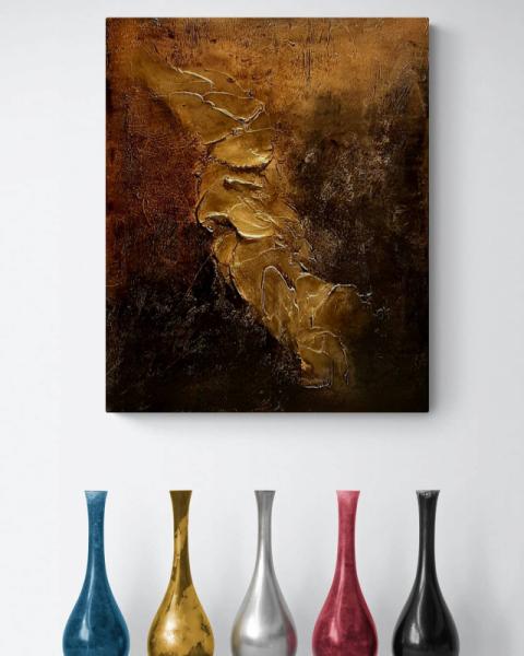 TABLEAU PEINTURE 寀vre unique tableau abstrait tableau peint � la main tableau dor� Abstrait Acrylique  - Composition n�