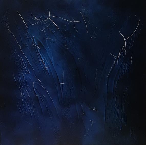 TABLEAU PEINTURE 寀vre unique tableau noir et bleu tableau abstrait Abstrait Acrylique  - Composition n�