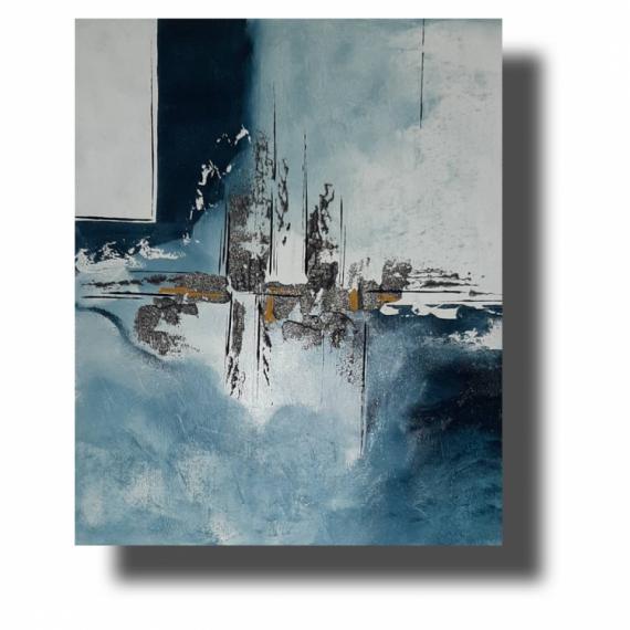 TABLEAU PEINTURE 寀vre unique tableau abstrait tableau design tableau bleu Abstrait Acrylique  - Composition n�