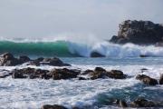 photo vague rocher tempete : Vague