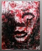 tableau autres visage figuratif sang : Face cachée