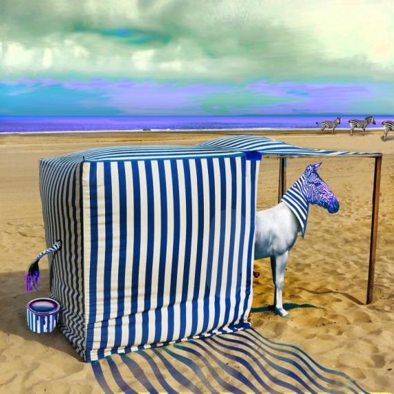 ART NUMéRIQUE Zèbre surréalisme camouflage plage Animaux  - LE SNIPER !
