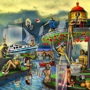 art numerique scene de genre bain turque surrealisme femmes culture : LE HAMMAM