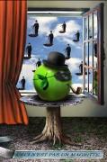 art numerique fruits pomme masque pipe et chapeau melo surrealisme : CECI N'EST PAS UN MAGRITTE