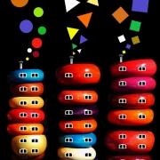 art numerique scene de genre couleurs maisons fumees trianglerondcarre : GEOMETRIE VARIABLE