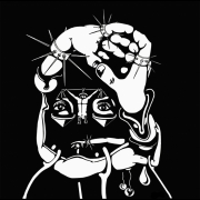 dessin scene de genre surrealisme tete charcuterie noir et blanc : Pâté de tête.
