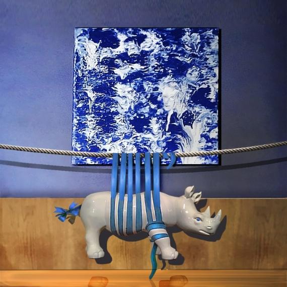 ART NUMéRIQUE rhinocéros tableau bleu SURREALISME emballage Animaux  - BLEU DE TRAVAIL