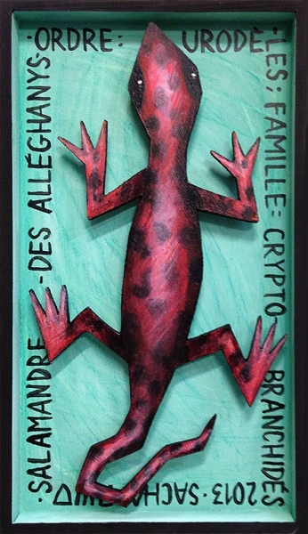 TABLEAU PEINTURE salamandre figuratif décoratif enfant Animaux Acrylique  - Salamandre