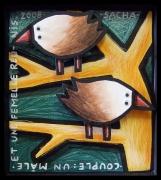 tableau animaux oiseau figuratif naif enfant : Couple-sur-branche