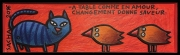 tableau animaux chat bois figuratif enfant : A table
