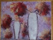 tableau fleurs vases : LE VASE AUX FLEURS ROUGES