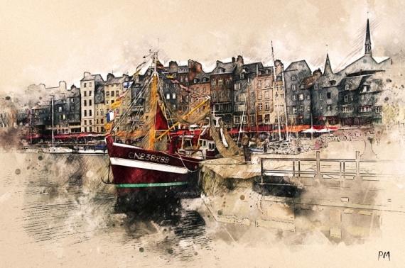 ART NUMéRIQUE bateaux Honfeur normandie mer Marine  - Chalutier de côte dans le port d'Honfleur