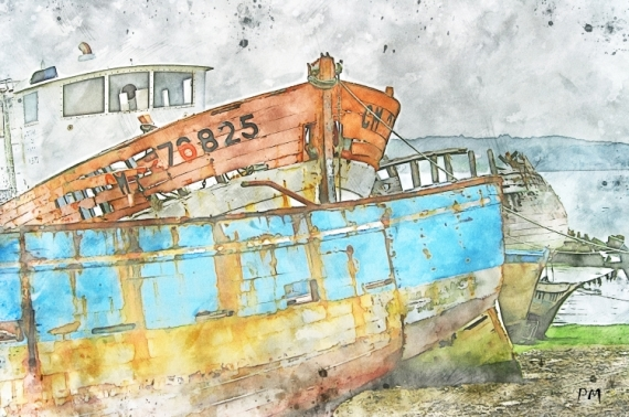 ART NUMéRIQUE bateaux épaves bretagne mer Marine  - Epaves