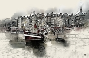 art numerique marine bateau honfleur normandie mer : Chalut de côte dans le port d'Honfleur