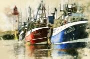 art numerique marine bateau peche ile d oleron mer : Départ de pêche