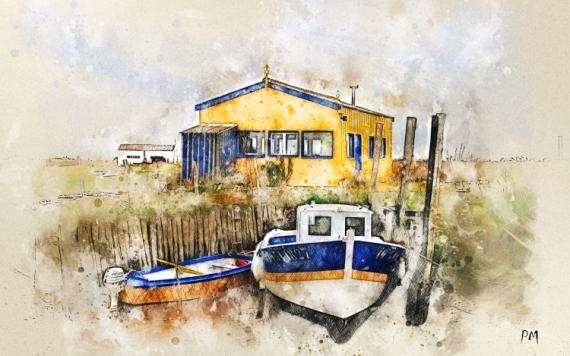 ART NUMéRIQUE bateaux Ile d'Oléron huitres mer Marine  - Dans les MARENNES D'Oléron