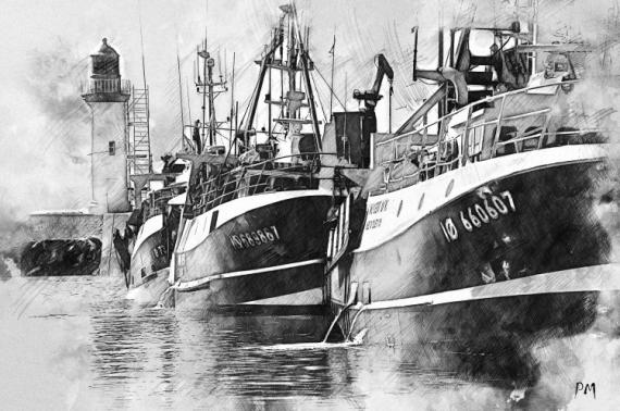 ART NUMéRIQUE bateau ile d'Oléron pêche mer Marine  - Départ de pêche