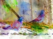 art numerique animaux oiseaux pigeon hiver neige : Couple de pigeon