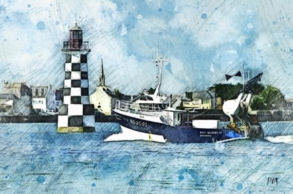 ART NUMéRIQUE bateaux pêche bretagne mer Marine  - Retour de pêche