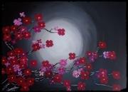 tableau fleurs cerisier lune nuit japon : CERISIER