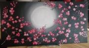 tableau fleurs fleurs cerisier lune nuit : Serenité