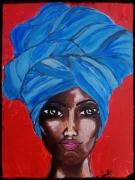 tableau personnages femme afrique turban bleu : Femme au turban