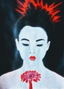 tableau personnages geisha japonaise fleur rouge : Geisha à la fleur