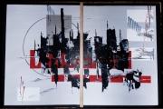 tableau abstrait rouge ombre gris ville : OMBRE