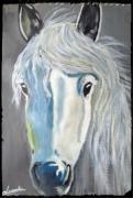 tableau animaux blanc cheval camargues gris : CHEVAL BLANNC