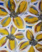 tableau fleurs fleurs jaune bleu abstrait : flowers