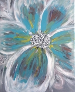 tableau fleurs fleur turquoise bleu jaune : FLEUR BLEU