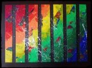 tableau abstrait couleur bande primaire noir : COULEUR