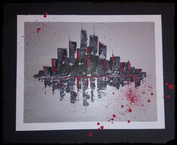 TABLEAU PEINTURE NEW YORK CITY USA MANATHAN Villes Acrylique  - New york