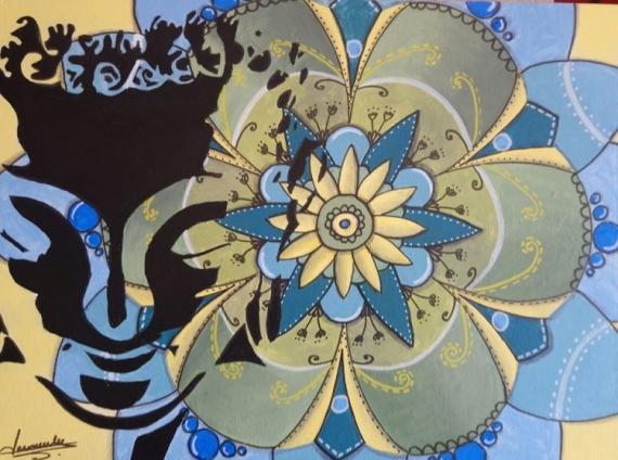 TABLEAU PEINTURE ZEN MANDALA BOUDHA MEDITATION Acrylique  - ZEN MANDALA