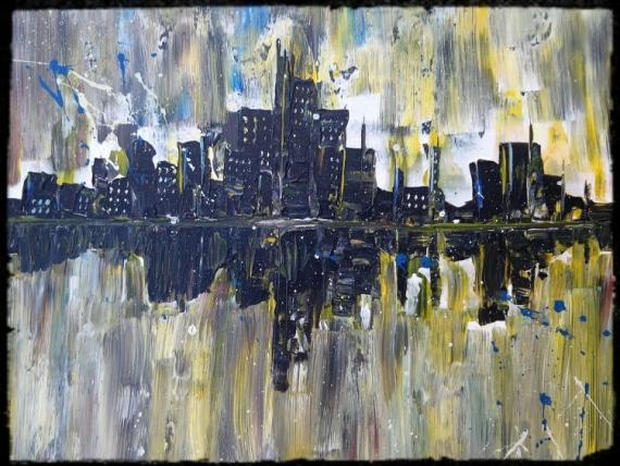TABLEAU PEINTURE VILLE NEW YORK REFLET EAU Villes Acrylique  - CITY