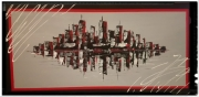 tableau villes ville rouge noir abstrait : Gotham