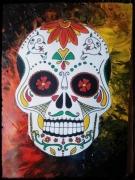 tableau personnages crane mexique mort fete : crane mexicain